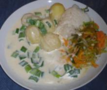 Hellefisk med ostesauce og tidlige grøntsager