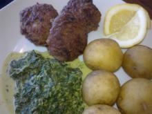 Karbonader & flødestuvet spinat m/ mynte