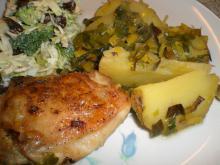 Kylling m. porrer og kartoffelbåde