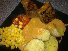 Oksemedaillon m/ paprikasauce & bagte kartofler