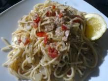 Spaghetti m/ tun, hvidløg & tomat