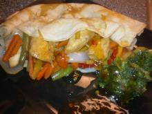 Ingefær-pandekager m/ kylling & grøntsager
