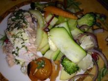 Ovnbagt laks med grønsager