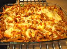 Pastaret med skinke, porrer og ost