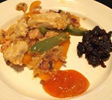 Kylling, bacon og peberfrugter på pande